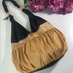 Boho-chic Embroidered Shoulder Bag Gold and Black